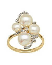 Lord & Taylor | Metallic 14kt Yellow Gold Freshwater Pearl And Diamond Ring | Lyst