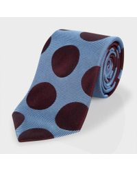 Paul Smith - Sky Blue And Damson Polka Dot Classic Silk Tie for Men - Lyst