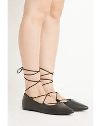b6e3dae5200 Lyst - Forever 21 Faux Leather Lace-up Flats in Black