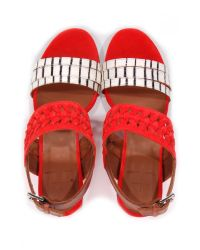 Thakoon Addition - Red Chloe Poppy Suede Stripe Sandals - Lyst