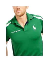 Ralph Lauren - Green Mesh-paneled Jersey Polo Shirt for Men - Lyst