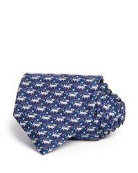 Ferragamo | Blue Dog On A Leash Printed Tie for Men | Lyst