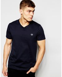 Fred Perry | Blue T-shirt With V Neck In Navy for Men | Lyst