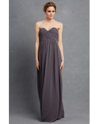 Donna Morgan Gray 'laura' Strapless Ruched Chiffon Gown