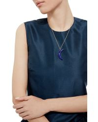 Andrea Fohrman - Blue Lapis Crescent Moon With Diamond Necklace - Lyst