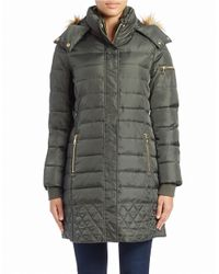 Sam Edelman | Green Faux Fur-trimmed Puffer Coat | Lyst
