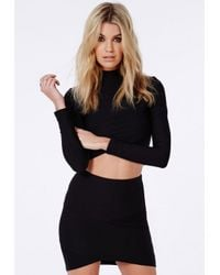 Missguided - Bandage Asymmetric Hem Mini Skirt Black - Lyst