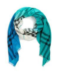 Burberry | Blue Ombre Check Wool & Silk Scarf | Lyst