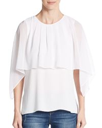 BCBGMAXAZRIA | White Jeanne Sheer Cape-overlay Top | Lyst