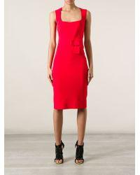 Alexander McQueen - Red Belted Pencil Dress - Lyst