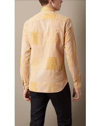 Burberry - Yellow Slim Fit Cotton Gingham Jacquard Shirt for Men - Lyst
