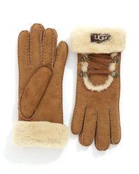 UGG | Brown Furlined Gloves | Lyst