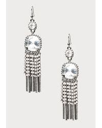 Bebe - Metallic Crystal Fringe Earrings - Lyst