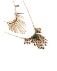 Forever 21 - Metallic Fringed Faux Stone Necklace Set - Lyst