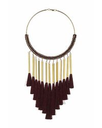 TOPSHOP - Black Fabric And Tassel Torque - Lyst