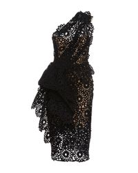Marchesa | Black One Shoulder Laser Cut Sheath Dress | Lyst