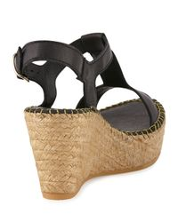 Andre Assous - Black Lemon Leather Wedge Sandal - Lyst