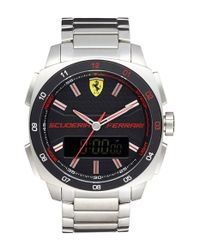 Scuderia Ferrari - Metallic 'aero Evo' Ana-digi Bracelet Watch for Men - Lyst