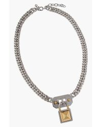 Rebecca Minkoff | Metallic Pave Horn Necklace - Silver/Black | Lyst