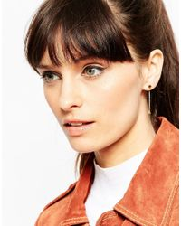 ASOS | Metallic Gold Plated Sterling Silver Hexagon Drop Earrings | Lyst