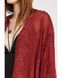Forever 21   Embroidered Sheer Kimono   Lyst