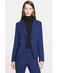 Max Mara - Blue 'Marus' One-Button Stretch Wool Jacket - Lyst