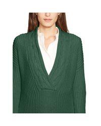 Ralph Lauren - Green Cotton Split-neck Sweater - Lyst