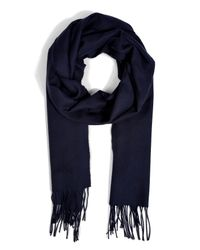 Brioni - Blue Cashmere Fringed Scarf in Navy for Men - Lyst