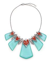 Alexis Bittar | Metallic Coral Deco Lucite, Enamel & Crystal Bedarra Articulated Bib Necklace | Lyst