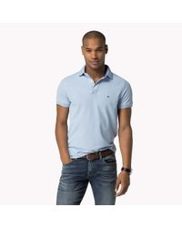 Tommy Hilfiger - Blue Performance Cotton Slim Fit Polo for Men - Lyst