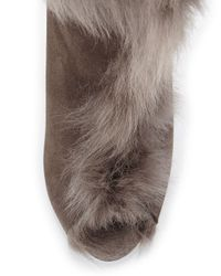 Pedro Garcia - Brown Sully Fur-trimmed Knee Boot - Lyst