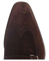Magnanni Shoes - Brown Suede Monk Strap Shoes for Men - Lyst