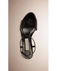 Burberry - Laser-cut Lace Leather Sandals Black - Lyst