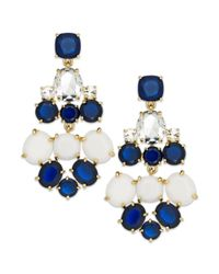 kate spade new york | Goldtone Blue And White Stone Chandelier Earrings | Lyst