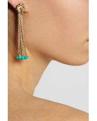 Aurelie Bidermann - Metallic Palazzo Goldplated Turquoise Clip Earrings - Lyst