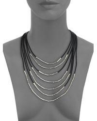 John Hardy - Metallic Bamboo Sterling Silver & Black Cord Multi-strand Necklace - Lyst
