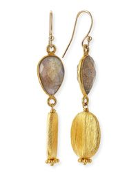 Dina Mackney | Metallic Labradorite & Gold Vermeil Drop Earrings | Lyst