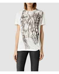 AllSaints - White Prowl Heny Tee - Lyst