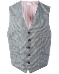 Thom Browne - Gray Striped Back Waistcoat for Men - Lyst