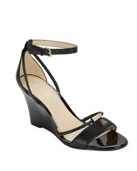 Nine West | Black Fastness Leather Wedge Sandals | Lyst