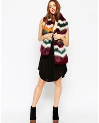 ASOS - Multicolor Faux Fur Scarf In Chevron Design - Lyst