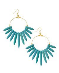Kenneth Jay Lane - Blue Graduatedspike Hoop Drop Earrings Turquoise - Lyst