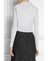 J.W.Anderson | White Draped Striped Stretch-Jersey Top | Lyst
