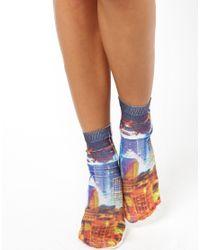ASOS | Blue New York Printed Ankle Socks | Lyst