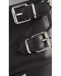 Burberry | Black Double Buckle Leather Ankle Boots | Lyst