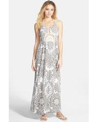Rip Curl - Gray 'painted Desert' Halter Maxi Dress - Lyst