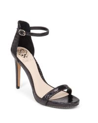 Vince Camuto | Black Frenchie2 Embossed Leather Sandals | Lyst