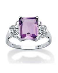 Palmbeach Jewelry - Metallic 2.98 Tcw Emerald-cut Amethyst And White Topaz Ring In Platinum Over Sterling Silver - Lyst