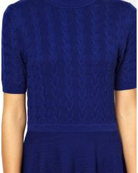 Oasis - Blue Cable Polo Dress - Lyst