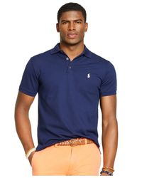 Polo Ralph Lauren - Blue Custom-fit Stretch-mesh Polo for Men - Lyst